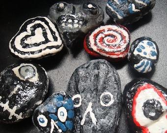 9 Psychedelic Halloween Handpainted Rock Magnets