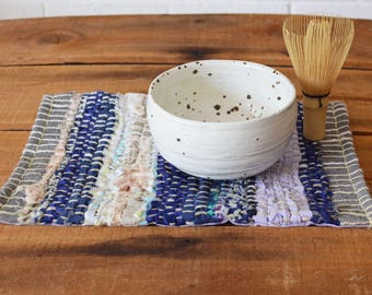 Woven mug rug, snack mat, placemat, table decoration. Hand woven. November Minimum Blues