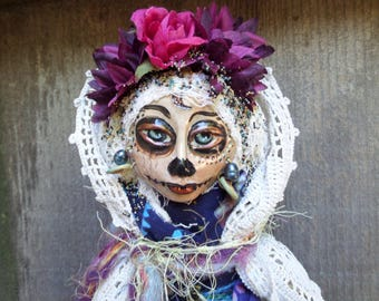 Calavera,Sugar Skull art doll, Muertos, Ooak art doll, Day of the Dead, Blue and Purple colors, wall decor, Griselda Tello, Original dolls