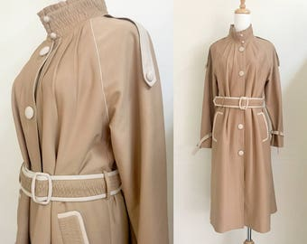 s a l e • Belted trench coat high collar coat