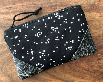 Small Zip Pouch - Black Scattered Dots