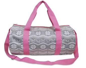 Monogrammed Girls Duffle Bag - Girls Sleepover Bag - Personalized Girls Gift - Snowflake Bag - Pink Duffle Bag - Girls Overnight Bag