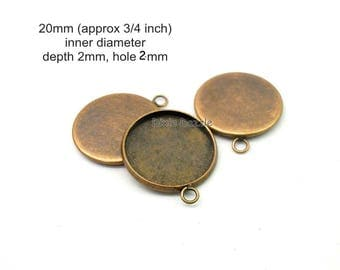 30 antiqued copper round Pendant Tray Blanks,  20mm round charm setting, DIY photo jewelry, holds 20mm cabochon, copper resin frame
