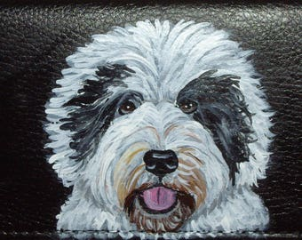 Old English Sheepdog Custom Painted Leather Men's wallet Gift for Men