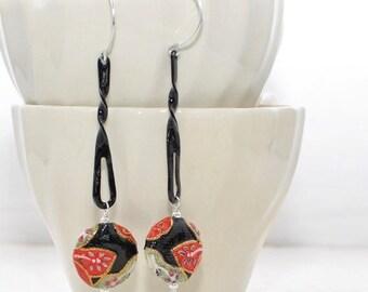 Oriental Flower Earrings Flower Waves - Black Dangle Earrings - Modern - Gift for Her - Everyday Earrings - Statement Earrings -Earring Gift