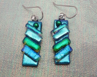 Fused dichroic glass earrings  diagonal strips sterling silver ear wires dichroic earrings long dangle  drops