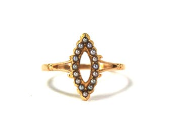 Antique Edwardian Victorian Seed Pearl Ring 18k Yellow Gold Navette Size 8 English Hallmarks Made in 1911