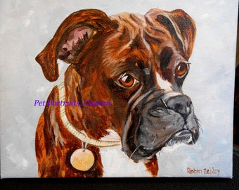 Boxer Dog Art, Boxer Dog Portrait, Boxer Pet Portrait Painting, Custom Boxer Dog, Your Pet Portrait, Artist Robin Zebley Custom Portrait Art