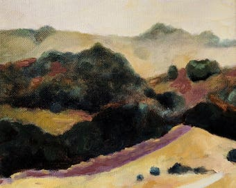 Oaks and Golden California Hillside Landscape Painting Small Original Oil on canvas 8x8 inches
