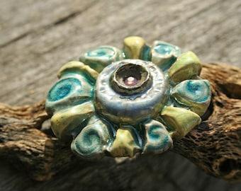 Handmade RAKU Flower Shank Button