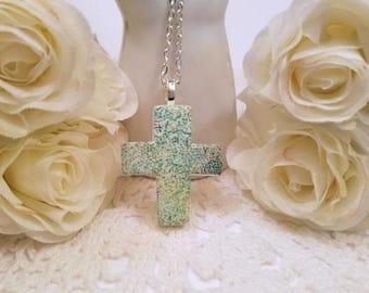 Cross Jewelry, Cross Necklace Women, Christian Jewelry, Cross Pendant, Green Jewelry, Faith Jewelry, Religious Jewelry handmade polymer clay