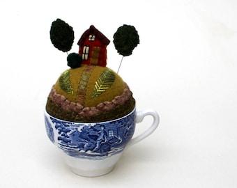 Teacup Pincushion House on a hill Tiny World No Saucer