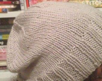 Pale Gray Slouchy Knit Hat Slouch Tam Beanie