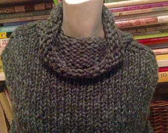 SALE Heathered Evergreen Handknit Capelet Wrap Shawl