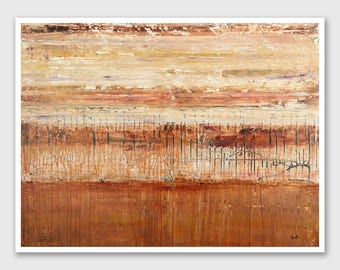 """Abstract PRINT of Painting """"Sand Storm"""" by Lisa Carney - Abstract Landscape, Large wall art, Giclee Print, Modern, Drip Art, Orange, Rust"""