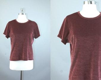 VTG 90s Maroon Velvet short sleeve blouse top tee T-Shirt women sz L