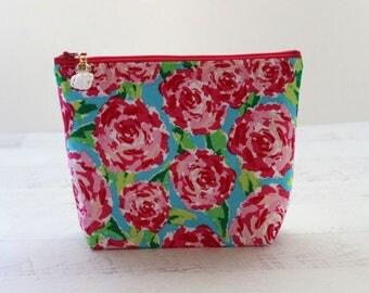 Bridesmaid proposal gift - big makeup bag - floral make up bag - floral clutch - cosmetics bag - bridesmaids clutch - floral zipper pouch