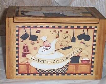 Recipe Box Fat Chef Bamboo Never Trust Skinny Chef Bistro Waiter Kitchen  Decor