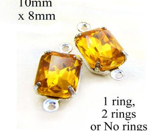 Golden Topaz Vintage Glass Beads - 10x8 Octagon - 10mm x 8mm Glass Gems - Rhinestones - Glass Connector - Jewelry Supply - One Pair