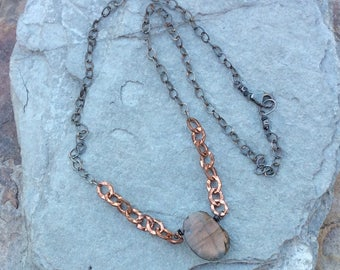 LABRADORITE necklace, mixed metals, silver and copper, handmade artisan jewelry by Angry Hair Jewelry, gemstone necklace