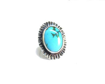 Big Oval Turquoise Cocktail Ring - Size 8.5 OOAK