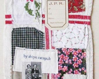 Small art quilt, Waiting on the Porch, textile art, vintage linen, antique photo