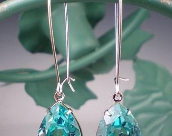 SUMMER SALE 5 Pairs of Rhinestone Earrings Light Turquoise Swarovski Dangle Earrings Aqua Teal Wedding Jewelry Bridesmaid Jewelry MADE To Or
