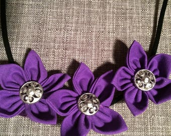 Purple Silver Button Fabric Flower Statement Necklace