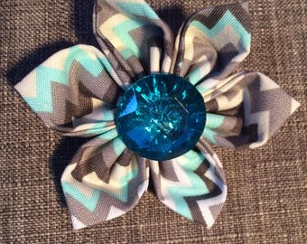 Aqua Blue Chevron Design Fabric Flower Brooch Pin