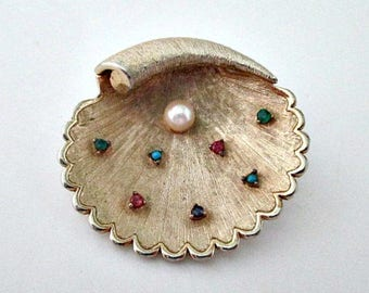 Seashell Brooch Pin - Signed CAPRI Jewelry - Gold Seashell with Pearl and Stones - Seashell Estate Pin Brooch Jewelry - Mid Century Jewelry
