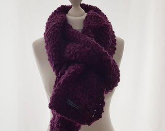 Purple Scarf, Wool scarf, Chunky knit scarf, Merino Wool, Hand-knit scarf, Winter scarf, Knitted Scarf, Urbanknit Scarf