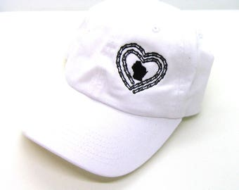 Clearance - Sale - Gift - Gracie Designs Hat - Black on White Bicycle Wisconsin Dad Hat