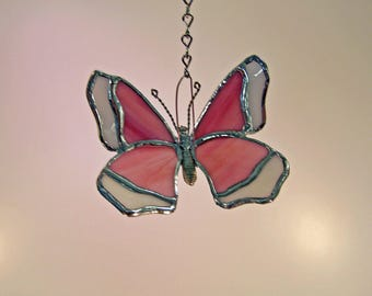 Stained Glass-Beautiful Pink & white Butterfly Suncatcher
