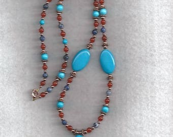 ON SALE Sodalite, Carnelian & Turquoise Necklace