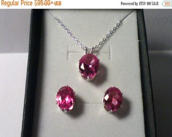 Pink Sapphire Necklace & Earring Set, Pink Sapphire Jewelry Set
