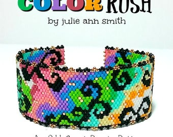 Julie Ann Smith Designs COLOR RUSH Odd Count Peyote and Brick Stitch Bracelet Pattern
