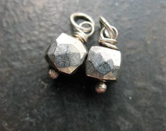 Faceted Natural Silver Pyrite Cube Charms in Antiqued Sterling - 1 pair - 13mm in length