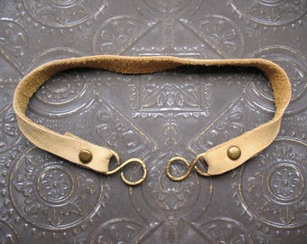 10mm Natural Tan Leather Riveted Segment with Antiqued Brass S Hooks - 9.25 inch length