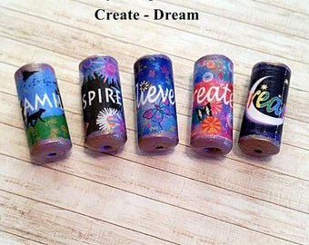 Inspirational Word Beads -  Handmade Paper Tube Beads - - Set/5 -  PB103