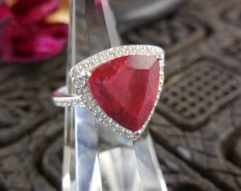 Ruby gemstone w/cz accents sterling silver ring - size 6.75