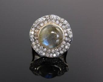 Labradorite cabochon & cz sterling silver ring - size 7.5