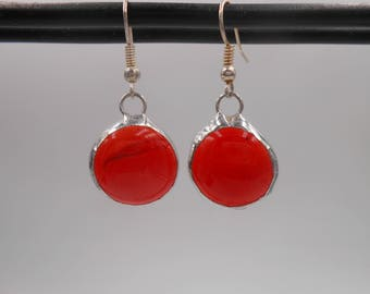 Red Round Stained Glass Gem Earrings light weight handmade holiday