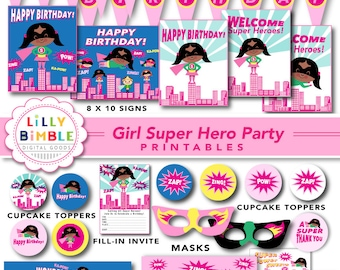 60% off SUPER HERO birthday party for girls, printable cupcake toppers, wrappers, signs, banners, masks, Superhero,  Download, African Ameri