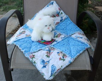 Cat Bed, Blue Cat Bed, Blue Bird Cat Bed, Bird Cat Bed Cat Blanket, Cat Accessories, Cat Bed With Bluebirds, Fabric Cat Bed, Luxury Cat Bed