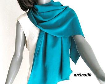 Teal Blue Cyan Silk Coverup Wrap Shawl, Turquoise Cerulean Stole, M Medium, Pure Silk Crepe, Artisan Handmade, Artinsilk.