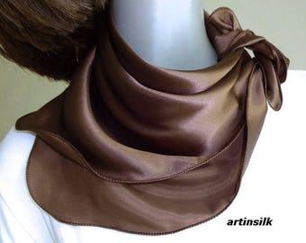 Brown Silk Charmeuse Scarf, Small Square Pure Silk Satin, Chocolate Cocoa Brown Wavy Edge 21x21 Neck Scarf Petite Medium, Artinsilk.