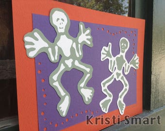 Spooky halloween day of the dead skelly silk screen collage