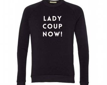 New LADY COUP NOW Crew Neck Sweatshirt, Heather Gray, Small, Fleece, Anna Joyce, Portland, Oregon
