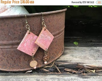 CRAZY SALE- Embossed Leather Earrings-Pink Floral-Beaded-Boho Earrings