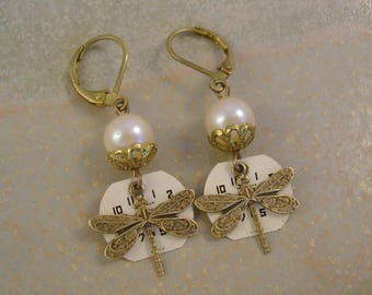 Fly Away Home - Vintage Watch Dials Dragonflies Pearls Steampunk Recycled Repurposed Upcycled Jewelry Earrings